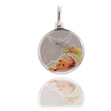 Medalik srebrny (1,5 g) - Duch Święty nad dzieckiem MK014