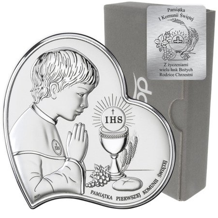 Obrazek Srebrny Pamiątka I Komunii dla chłopca Serce z podpisem DS03O