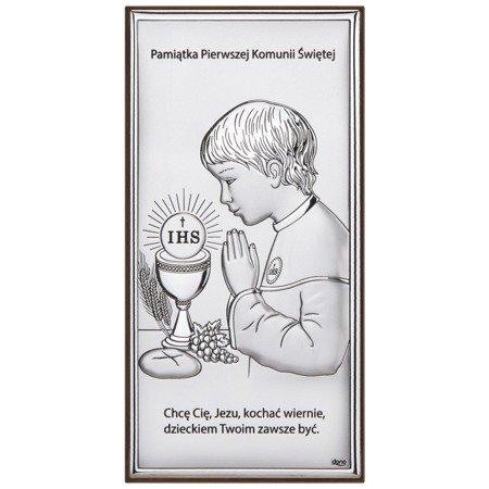 Obrazek Srebrny Pamiątka I Komunii dla chłopca prostokąt z podpisem Dono DS30O