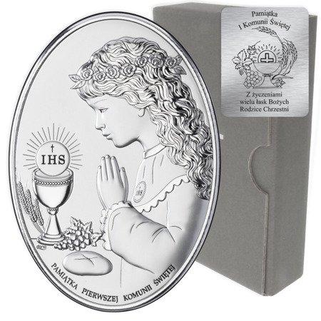 Obrazek Srebrny Pamiątka I Komunii dla dziewczynki owal z podpisem DS05A