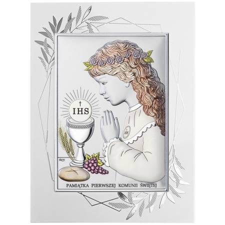 Obrazek Srebrny Pamiątka I Komunii dla dziewczynki prostokąt z podpisem DS04FOCA
