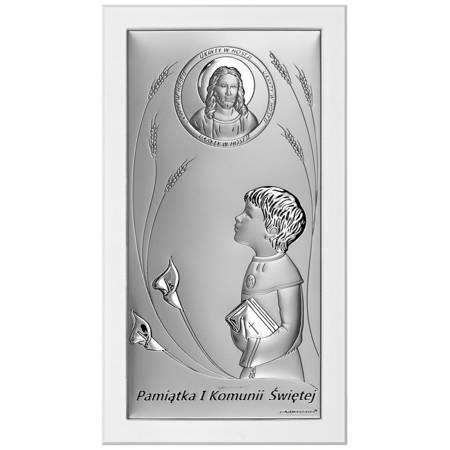 Obrazek pierwszokomunijny Srebrny Pamiątka I Komunii 6684SW