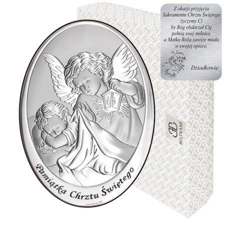 Obrazek srebrny Anioł Stróż Pamiątka Chrztu 6561