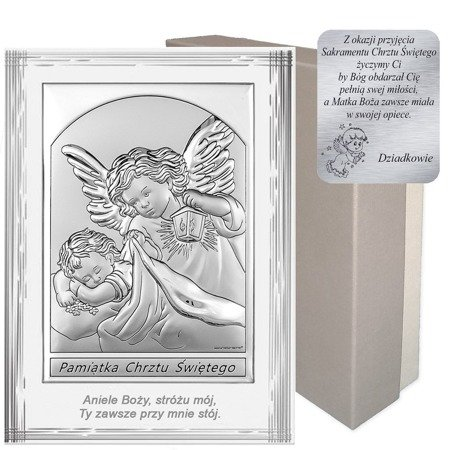 Obrazek srebrny Anioł Stróż Pamiątka Chrztu 6669SF
