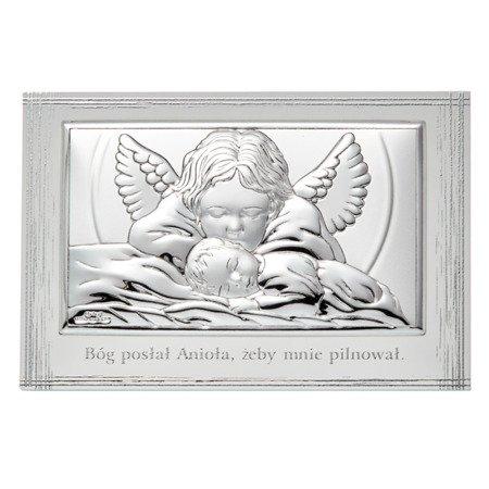 Obrazek srebrny Aniołek nad dzieciątkiem 81288PL