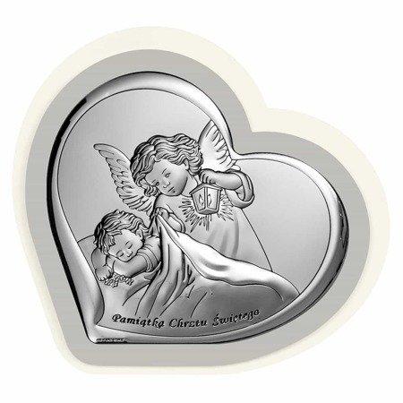Obrazek srebrny Aniołek z latarenką z podpisem 6449PG