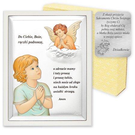 Obrazek srebrny Aniołek z modlitwą w kolorze z białą ramką 31300CERBW