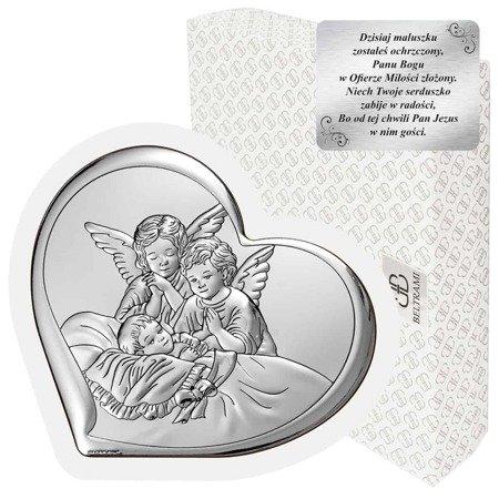 Obrazek srebrny Aniołki nad dzieckiem 6450W