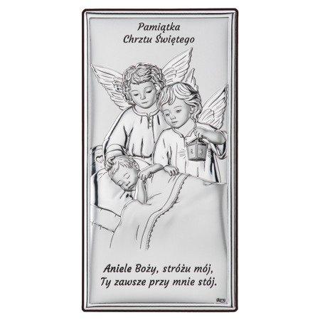 Obrazek srebrny Aniołki z latarenką nad dzieckiem DS21