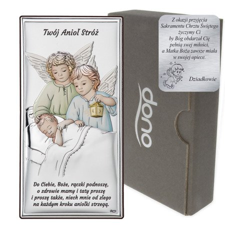 Obrazek srebrny Aniołki z latarenką nad dzieckiem Dono DS22C