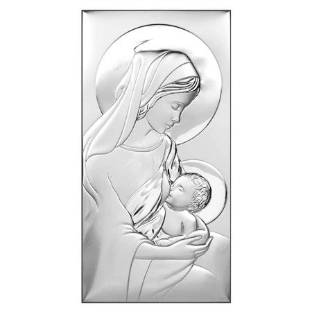 Obrazek srebrny Matka Boska z dzieciątkiem 6412