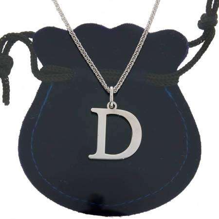 Przywieszka Srebrna literka D 2 cm pr.925
