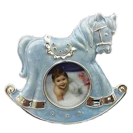 Ramka dziecięca z masy perłowej - niebieska, konik 473-3242