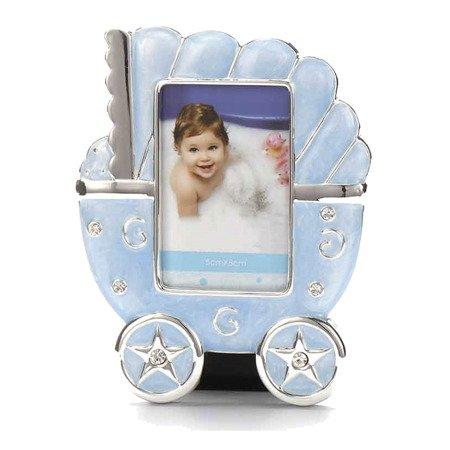 Ramka dziecięca z masy perłowej - niebieska, wózek 473-3291