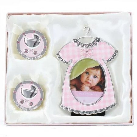 Ramka + puzderka na pierwszy ząbek oraz pukiel włosów, różowa, sukienka 473-3280