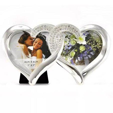 Ramka ślubna z cyrkoniami - serca 473-3398