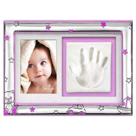 Ramka srebrna z miejscem na odcisk dłoni dziecka 3583R