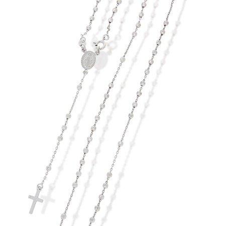 Różaniec srebrny - 5 dziesiątek z zapięciem rodowany 5,6-6,7 g, srebro pr. 925 RC033