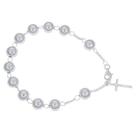 Różaniec srebrny - bransoletka różańcowa na rękę, dziesiątek pr 925