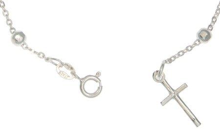 Różaniec srebrny - bransoletka różańcowa na rękę, dziesiątka diamentowana, 2,8-3,4 g, srebro pr. 925 BRP24