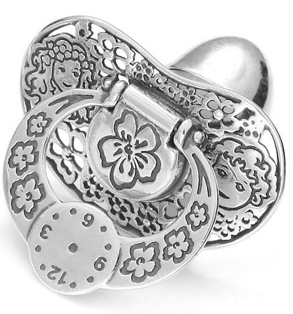 Smoczek srebrny pr 925 SM11 MIEJSCE NA PIERWSZY ZĄBEK OTWIERANY