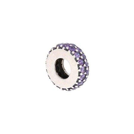 Srebrna przywieszka pr 925 Charms obrączka fiolet cyrkonie PAN029