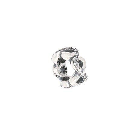 Srebrna przywieszka pr 925 Charms obrączka  mała nieskończoność cyrkonie PAN030