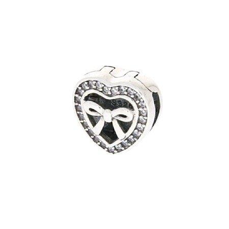 Srebrna przywieszka pr 925 Charms płaski serce z kokardką cyrkonie PANP008