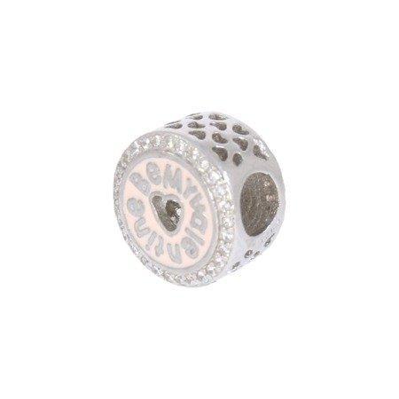 Srebrna przywieszka pr 925 Charms walentynki cyrkonie PAN048