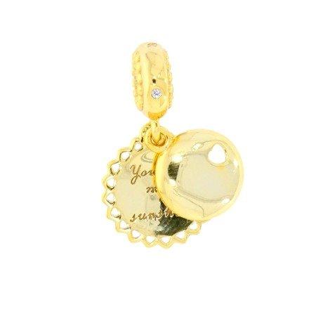 Srebrna przywieszka pr 925 Charms złoty medalik słońce składany  PAN132
