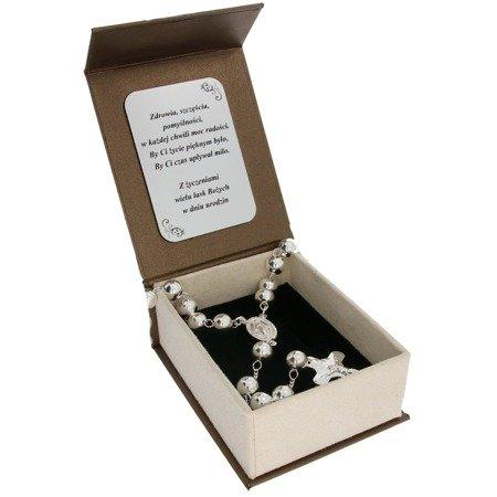 Zestaw duży różaniec srebrny - 5 dziesiątek 25,8g, 8mm srebro pr. 925 RC022/BA-6/A21