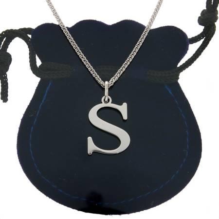 Zestaw naszyjnik literka S 2,0 cm z łańcuszkiem srebro rodowane pr 925
