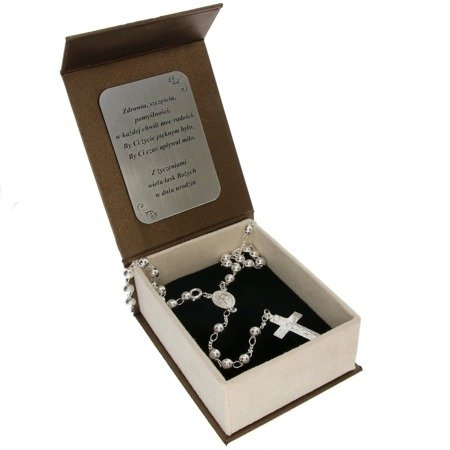 Zestaw różaniec srebrny - 5 dziesiątek 11,8 g, 5mm srebro pr. 925 RC019