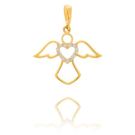 Złota przywieszka pr. 585  Aniołek serce ażurowe cyrkonie ZP005