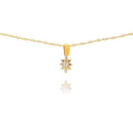 Złota przywieszka pr. 585 Kwiatuszek z owalnym oczkiem ZP008