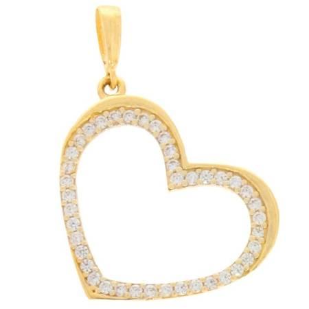 Złota przywieszka pr. 585 Serce kontur z cyrkoniami duże ZP031