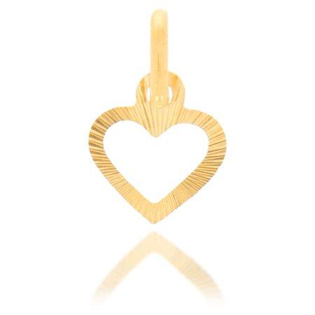 Złota przywieszka pr. 585 Serce małe proste kontur promienie ZP027