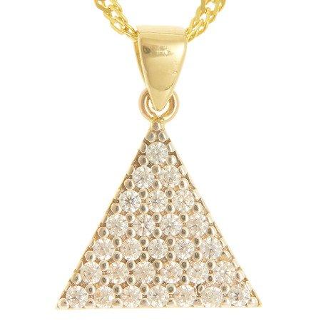 Złota przywieszka pr. 585 trójkąt cyrkonie ZP043