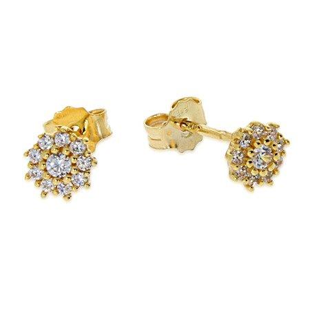 Złote kolczyki pr. 585 Kwiatuszek pełne cyrkonie sztyft ZA011