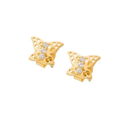 Złote kolczyki pr. 585 Motylek ażur cyrkonie sztyft ZA055