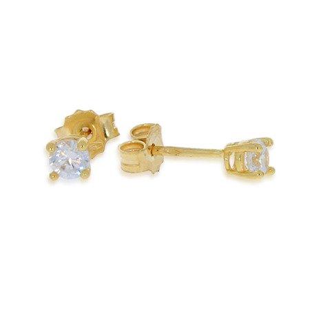 Złote kolczyki pr. 585  cyrkonia 4 łapki sztyft ZA014
