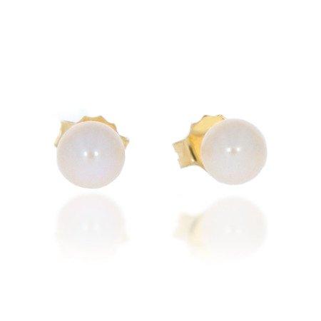 Złote kolczyki pr. 585 kulka perła mała sztyft ZA023