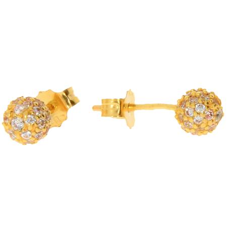 Złote kolczyki pr. 585 kulka średnia 5,0mm cyrkonie sztyft ZA031