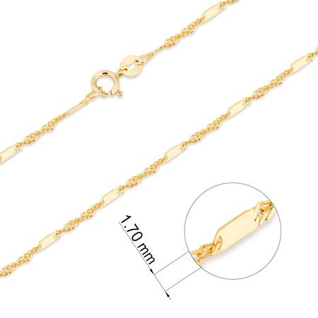 Złoty Łańcuszek pr. 585 Singapur z blaszką 028 szer 1,5mm ZL015