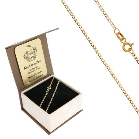 Złoty Łańcuszek w pudełku ozdobnym z grawerem pr. 585 Pancerka 025 ZL025/BA-3