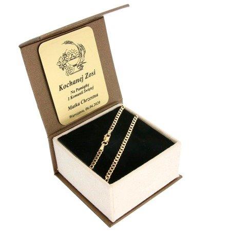 Złoty Łańcuszek w pudełku ozdobnym z grawerem pr. 585 Pancerka 070 ZL023/BA-3