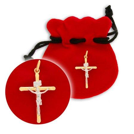 Złoty krzyżyk pr. 585 Krzyż prosty z wizerunkiem Jezusa ZK029