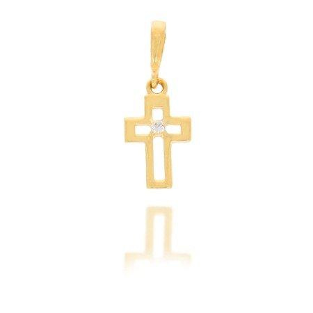 Złoty krzyżyk pr. 585 Krzyżyk kontur cyrkonia ZK014