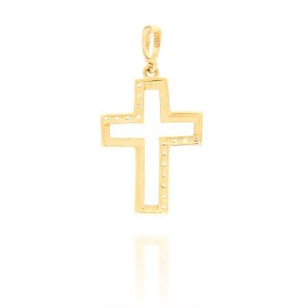 Złoty krzyżyk pr. 585 Krzyżyk kontur cyrkonie ZK015