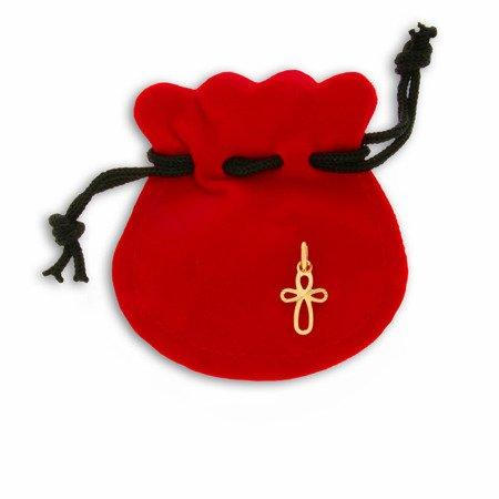 Złoty krzyżyk pr. 585 Krzyżyk pętelki promienie ZK031